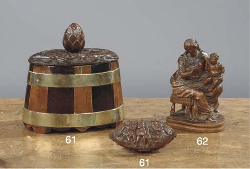 (2) A ENGLISH BRASS-BANDED YEW