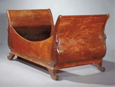 A French mahogany lit en batea