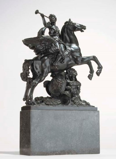 A FRENCH BRONZE GROUP OF FAME