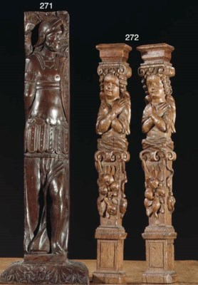 (2) A PAIR OF CARVED WOOD CARY