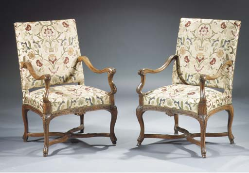 (2) A pair of French walnut fa