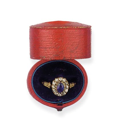 (2) AN ANTIQUE SAPPHIRE AND DI