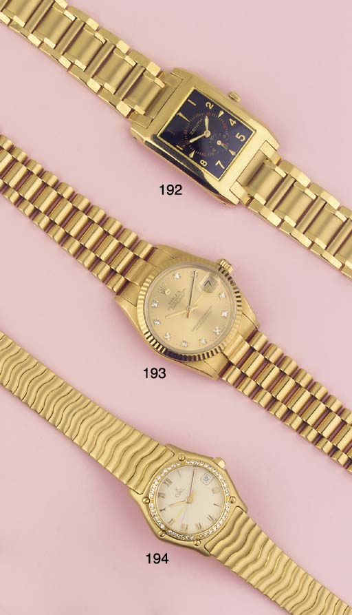A LADY'S 18K GOLD WATER RESIST