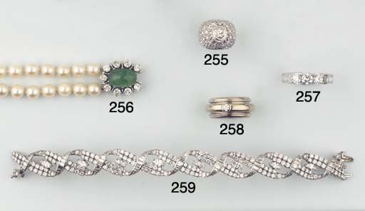 A CULTURED PEARL EMERALD AND D
