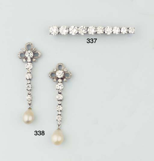 (2) A PAIR OF PEARL AND DIAMON