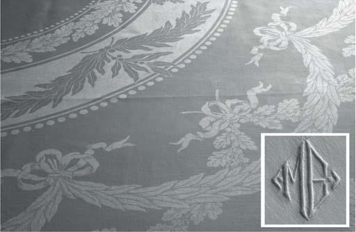 (5) A set of four damask linen