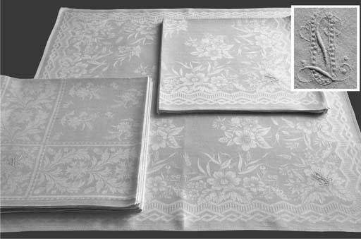 (12) Two sets of six damask li