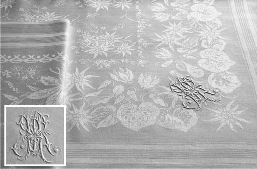 (2)  Two damask linen tableclo
