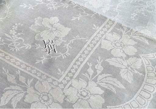 (13)  A large damask linen tab