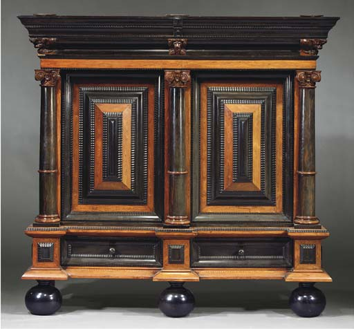 A DUTCH ROSEWOOD AND EBONISED