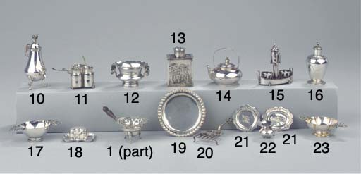 A Dutch silver miniature inkst
