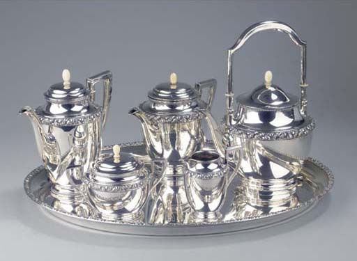 (6) A German silver coffee and