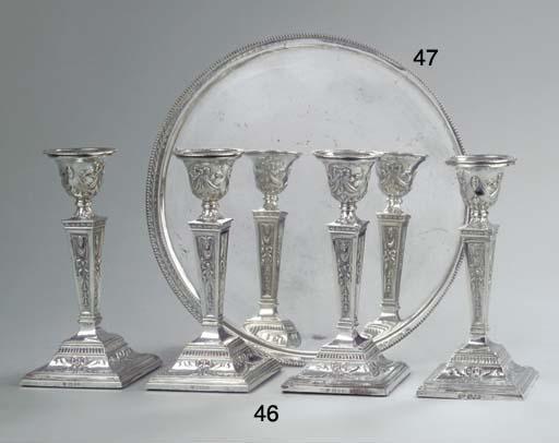 Four English silver candlestic