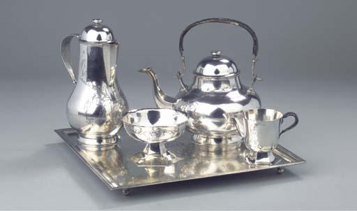 A four-piece silver teaservice