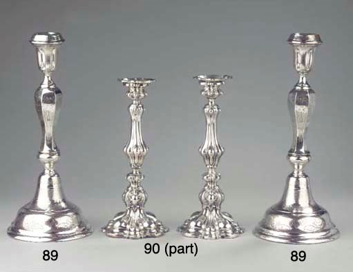A pair of Austrian silver cand