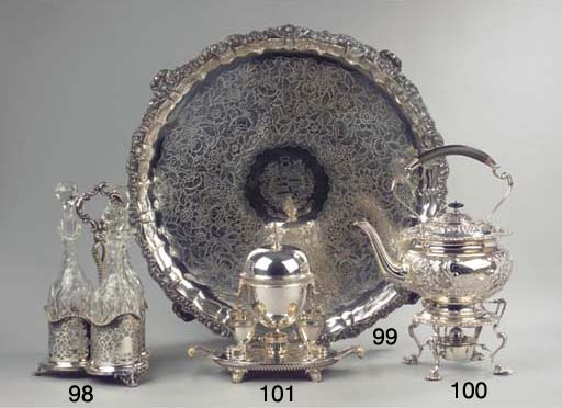 A large English silver salver