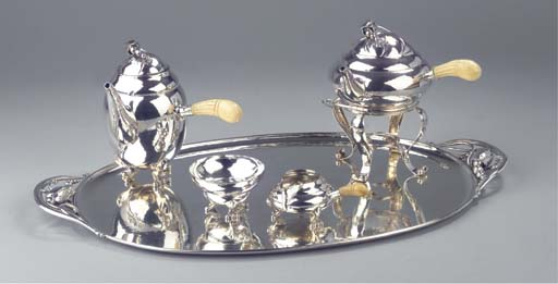 A Danish silver teaservice and