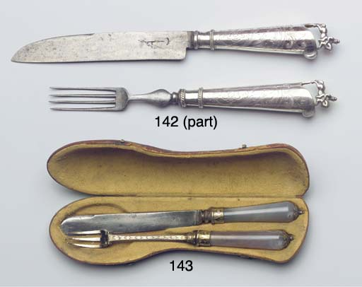 A Dutch silver travelling fork