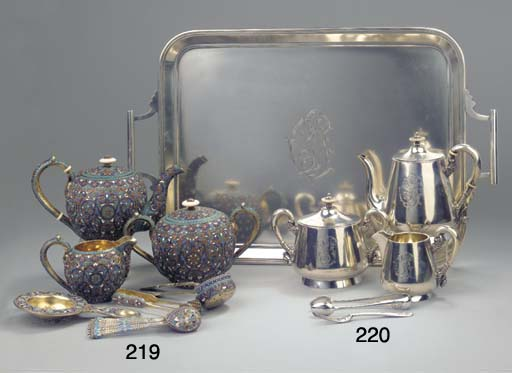 A five-piece Russian silver te