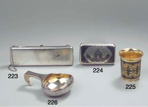 A Russian silver-gilt niello b