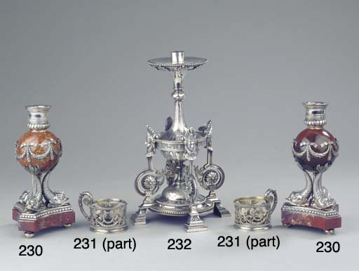 A pair of silver-mounted Jaspa