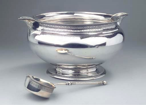 A Russian silver punch bowl an