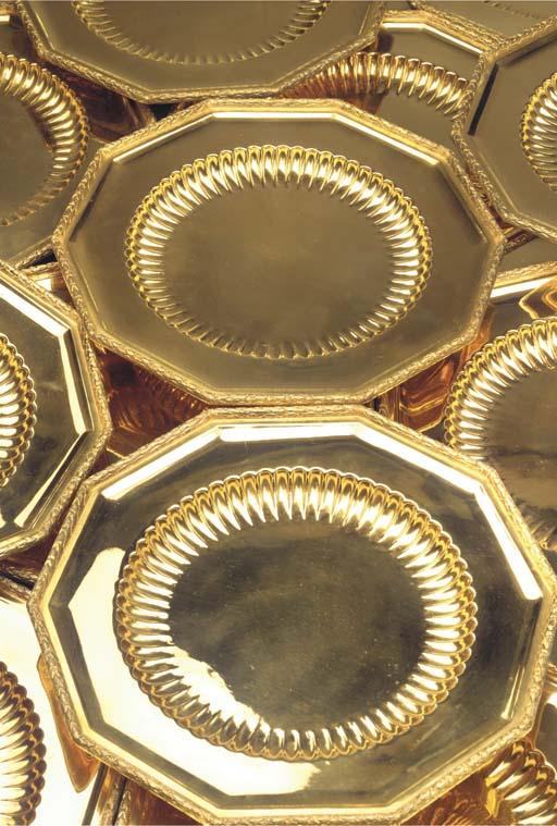 Twelve Austrian silver-gilt pl