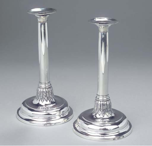 Two Spanish silver candlestick