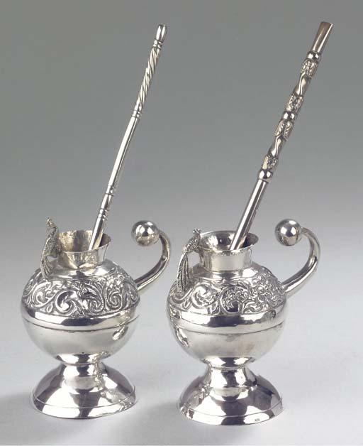 Two South American silver maté