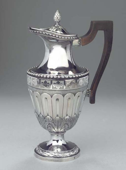 A Dutch silver coffee jug