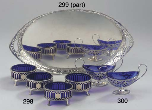 A Dutch silver tray and two si