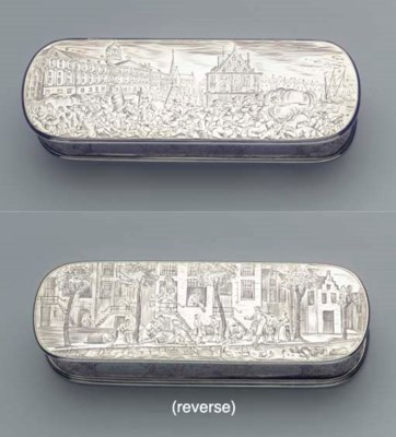 A Dutch silver tobacco box