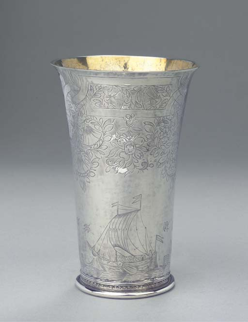 A Dutch parcel-gilt beaker