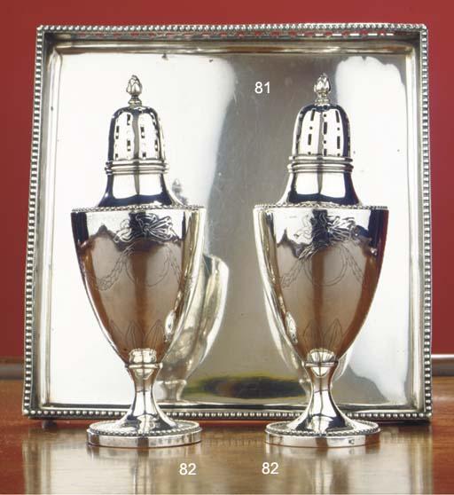 (4) A pair of Dutch silver cas
