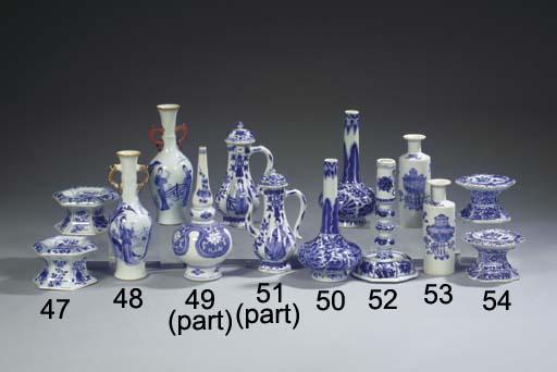 Three blue and white vases