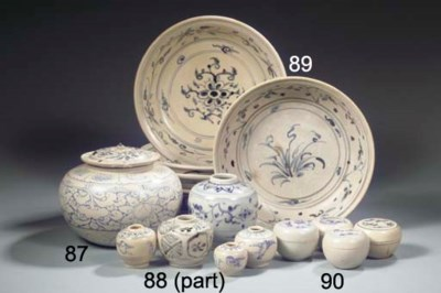 A set of five blue and white A
