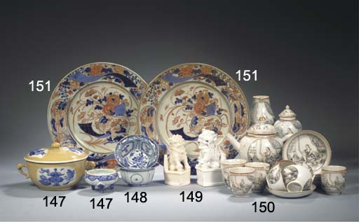 Nine blue and white bowls