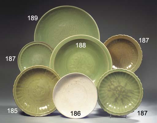 Three Longquan celadon dishes