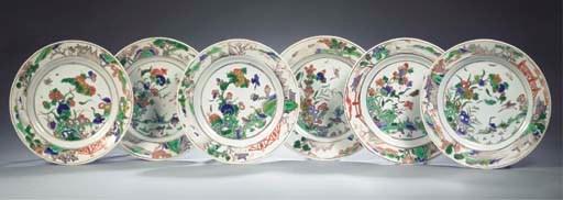 A fine set of six famille vert