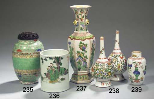 A famille verte ovoid vase