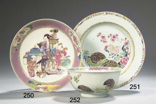 A famille rose 'quail' plate