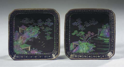 Two lac burgaute square trays