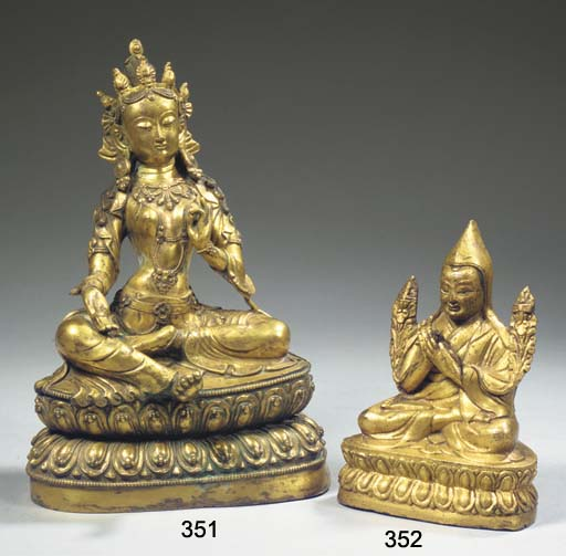 A Tibeto-Chinese gilt-bronze f