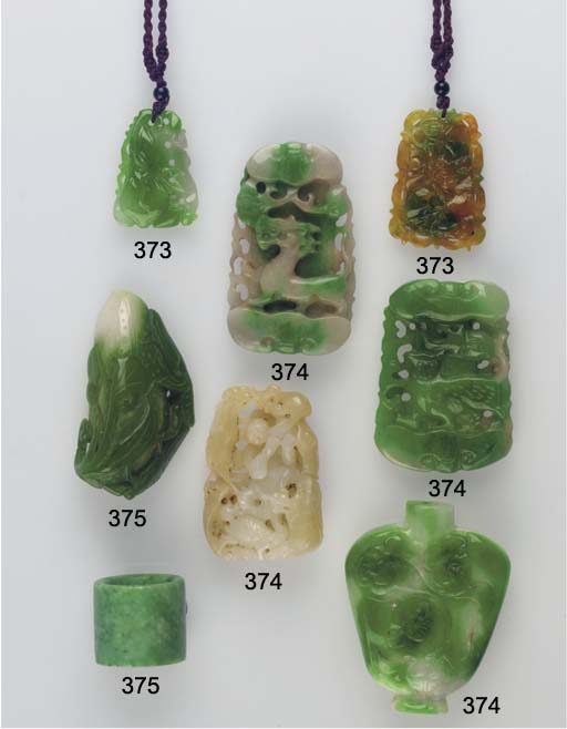 A group of jadeite carvings