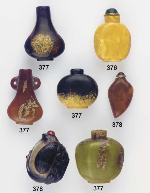 An amber snuff bottle, tortois