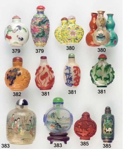 Seven porcelain snuff bottles