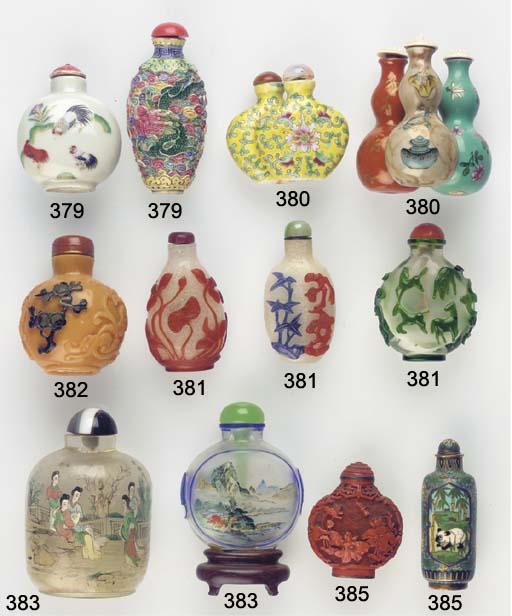 Five inside-painted glass bott