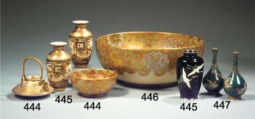 A Satsuma bowl and small teapo