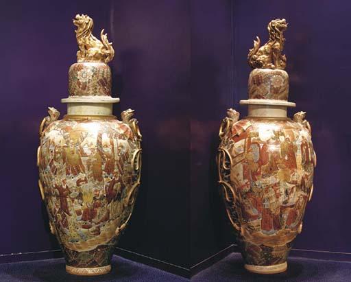 A pair of large Satsuma balust