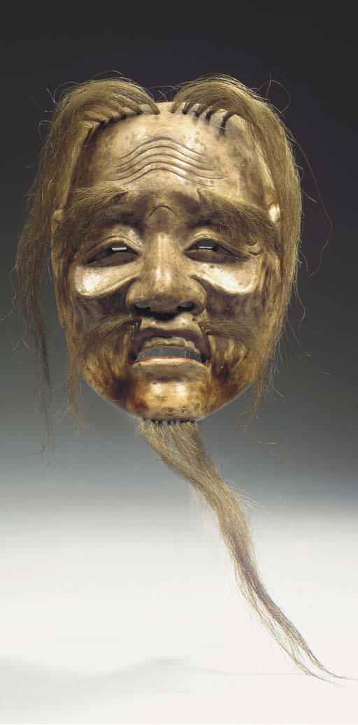 A polychrome wood Noh mask